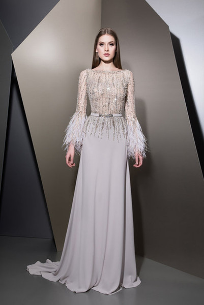 2018 Ziad Nakad Prom Dresses Luxury Beaded Sequins Feathers Bateau Neck Satin Long Sleeve Evening Gowns Luxury Formal Dress Party Wear