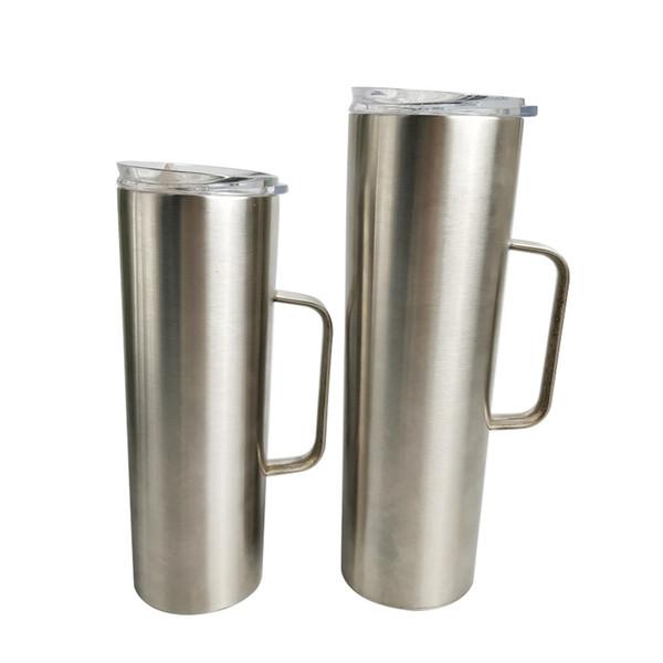 20 oz 30 oz en acier inoxydable tasse gobelet avec poignée isolée maigre tasse de café sous vide l'eau de la bière tasse gobelet avec couvercle MMA2878