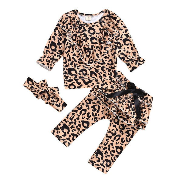 INS leopard baby girls suits sweet girls boutique outfits Christmas baby girl clothes long sleeve t shirt+PP pants+bows headband 3pcs A9736