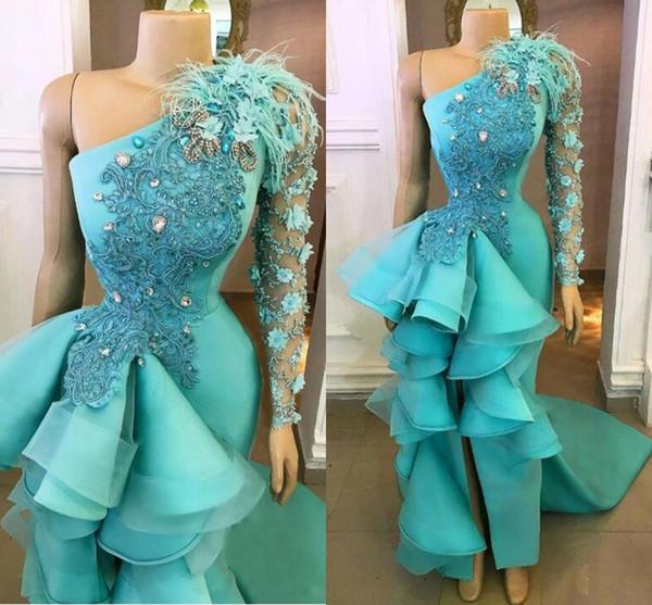 Élégant bleu paon une épaule robes de soirée 2020 Hand Made Fleurs Peplum Party formelles Appliques Robes avec robe de bal de Split