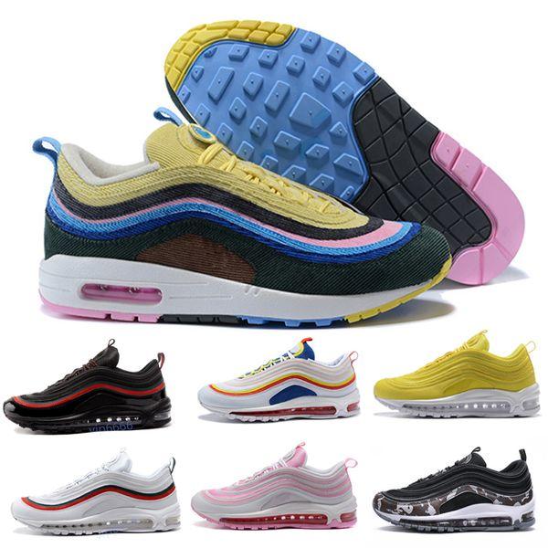 Acheter 2019 Nike Air Max 97 Vapormax Sean Wotherspoon 97s VF SW Hybride Hommes Femmes Chaussures De Course Authentique Multicolore Designer 97 Sports