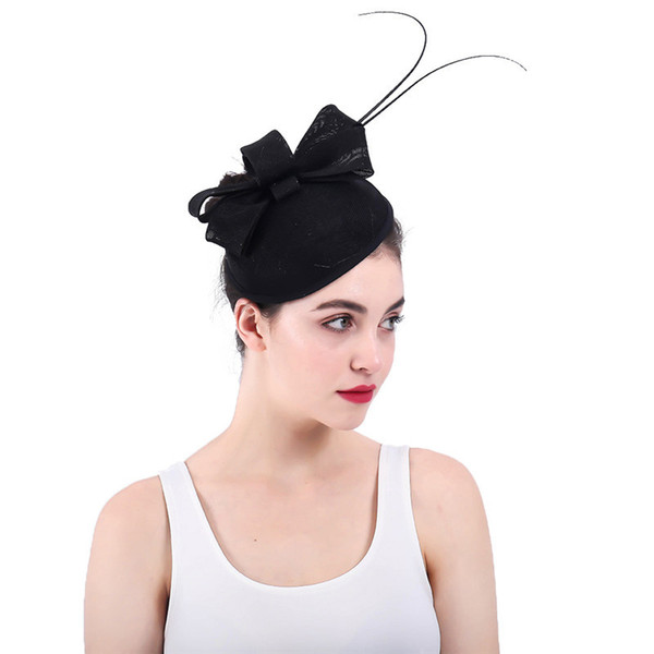 Ostrich Feather Disc Fascinator Sinamay Bow & Ivory Pearl Fascinator Hats Ladies Party Fashion Jeweled Vintage Hair Clips