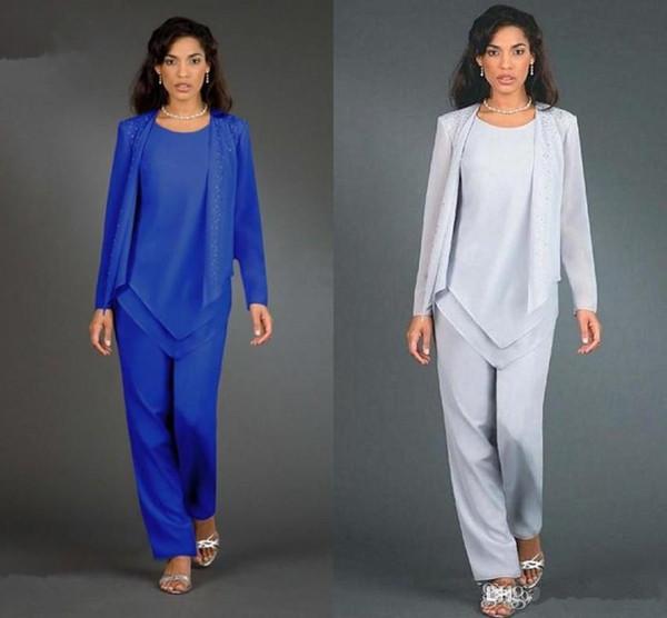 2019 Nouveau Designer 3 Pièces Royal Blue mère de la mariée Costumes Pantalons manches longues en mousseline de soie femmes Robes Parti Lady robes de soirée