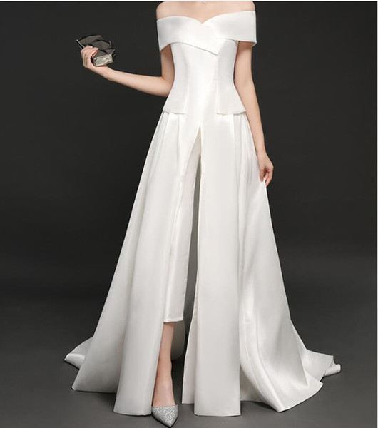 2019 New Sexy Jumpsuit White Evening Dresses Satin Off Shoulder Satin Saudi Arabia Party Dress Prom Formal Pageant Celebrity Gowns