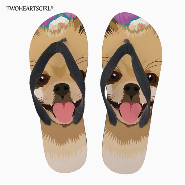 Twoheartsgirl Cute Pomeranians Dog Women Flipflops Summer Bath Slippers Beach Flip Flops Slippers For Ladies Custom Flop-flops