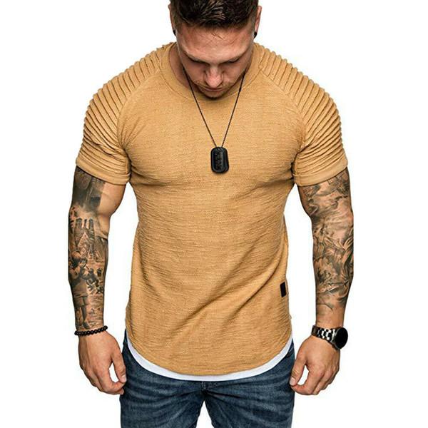 Ropa de verano Muscle Plain Tee 5 colores Tooling Men Slim Fit O-cuello arrugado Tee Casual manga corta camiseta arrugada Tops