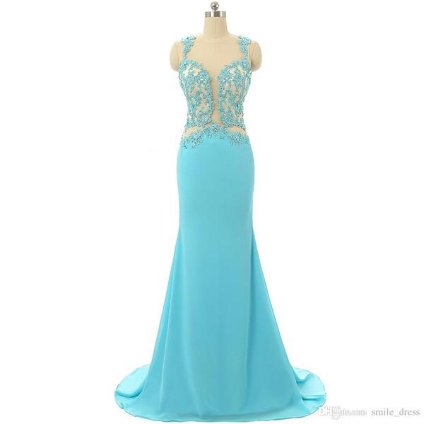 Echt Fotos Blau Abendkleider Lange Elegante Sheer Neck Appliques Prom Kleider Sexy Abendkleider Für Frau JMC010
