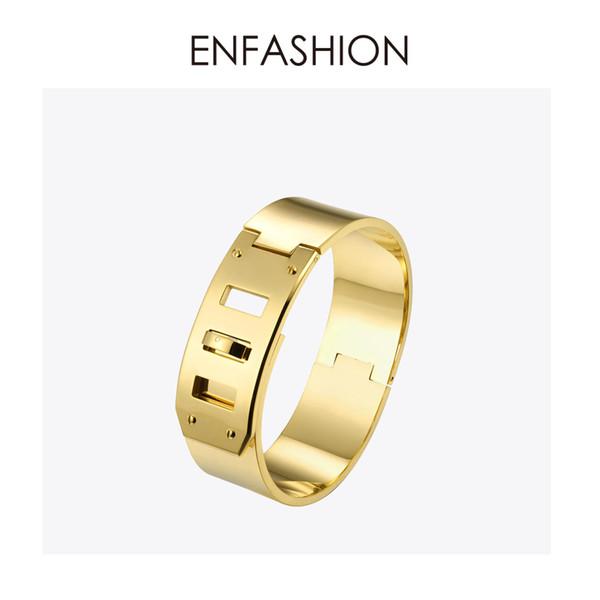Enfashion Jewelry Punk Wide Belt Buckle Cuff Bracelet Gold Color Stainless Steel Bangles Bracelets For Women Bracelet Pulseiras Y19051101