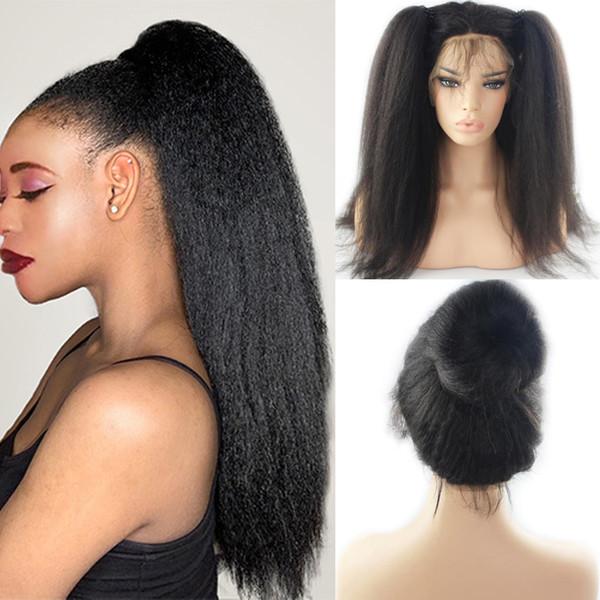 Ondulado largo de Yaki del pelo pelucas delanteras del cordón con el pelo del bebé Para Mujeres Negro resistente al calor sintéticas de encaje peluca de pelo rizado pelucas rectas sin cola