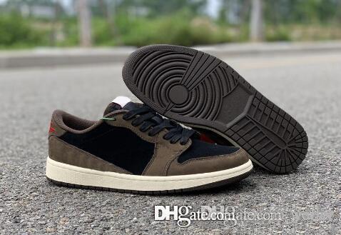 ALTA QUALITÀ 2019 nuovi 1 Low Olimpiadi SP TS 1s Brown camoscio nero scarpe uomini di pallacanestro Sport Sneakers