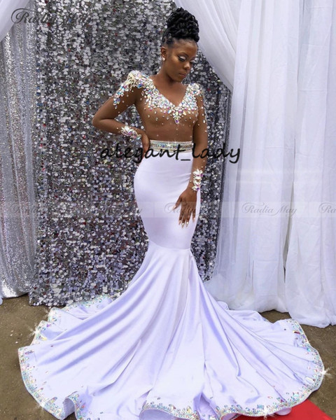 Luxury Rhinestones Crystal Mermaid Prom Dresses Long Sleeves V-Neck African Black Girls big train Graduation Party evening Gala Dress