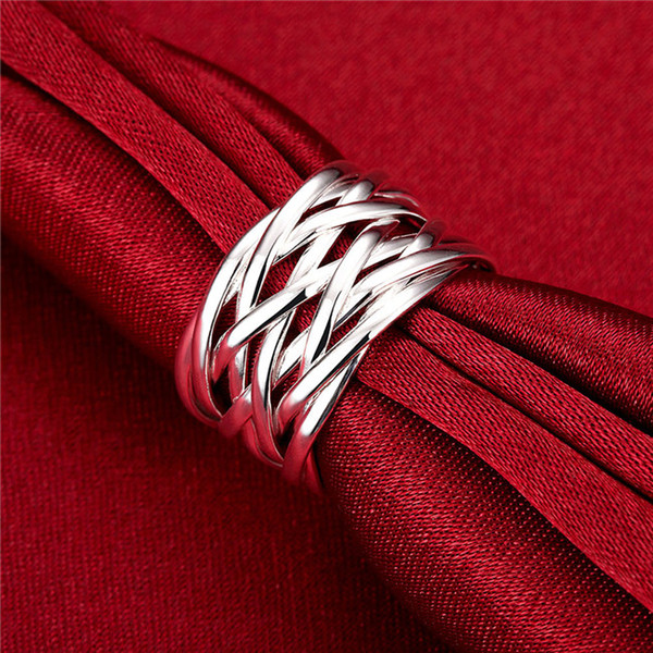 best selling Network popular European and American fashion mesh with 925 Silver Ring,DSSR-010 can mix order 10 pieces a lot