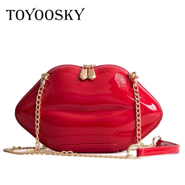 Toyoosky 2018 Frauen Rote Lippen Clutch Bag Hochwertige Damen Pu Leder Kette Umhängetasche Bolsa Abendtasche Lippenform Geldbörse Y19061301