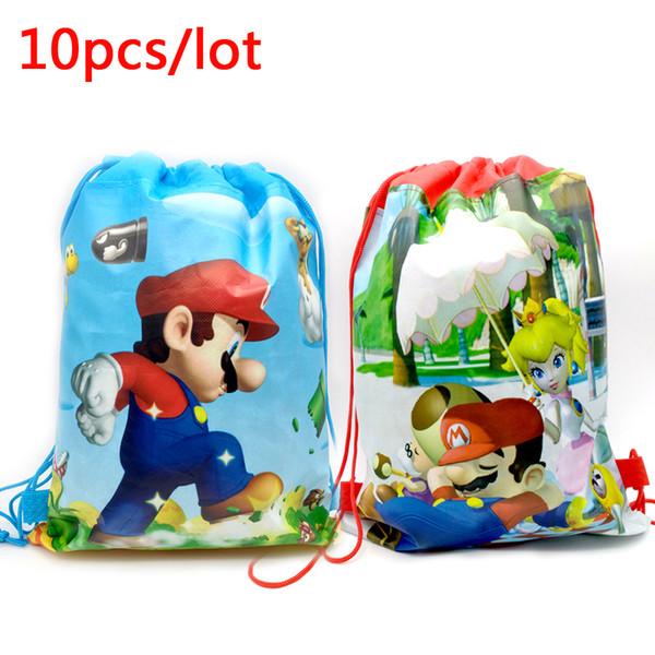 10pcs/lot Birthday Party Super Mario Theme Bag Non-woven Fabric Drawstring Gifts Bags Kids Boys Favors Decoration Events Mochila