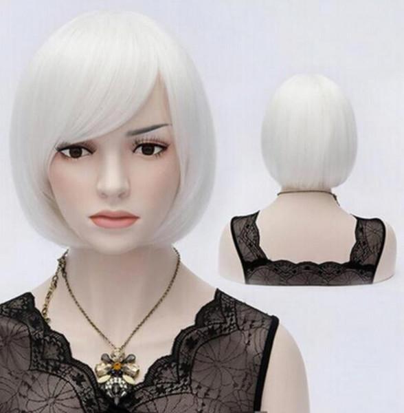 Perruque de soirée dansante de perruque de Bob de mode de Bob synthétique de fibre synthétique blanche perruques de Bob pour des femmes