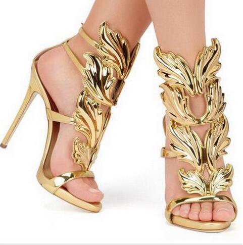 Hot Sale Brand Sanals Golden Metal Wings Leaf Strappy Dress Sandal Silver Gold Red Gladiator High Heels Shoes Women Metallic Winged Sandals