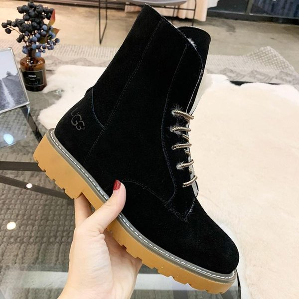 VGG Luxury Women Shoes Boots Warm Fur Plush Lace-Up Design High Top Lady Shoes Zapatos de hombre Winter Footwears Retro Keep Warming Boots