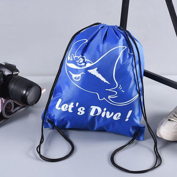 top popular Drawstring Bags Polyester Pocket Custom Drawstring Shopping Storage Bag Outdoor Sports Nylon Backpack Drawstring Bag Logo can be customize 2019