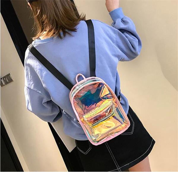 6styles Laser Clear Backpack Shining Jelly fashion Backpack Hologram Waterproof Beach Travel Transparent Shoulder School Bag ZZFJ611