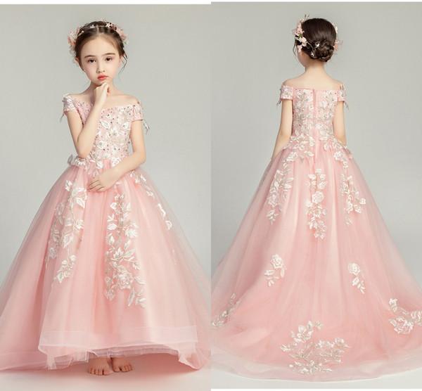 Блеск бисером розовый кружевной девушки цветка с поездом плеча Короткие рукава специального случая платья Маленькие девочки партия Выпускной