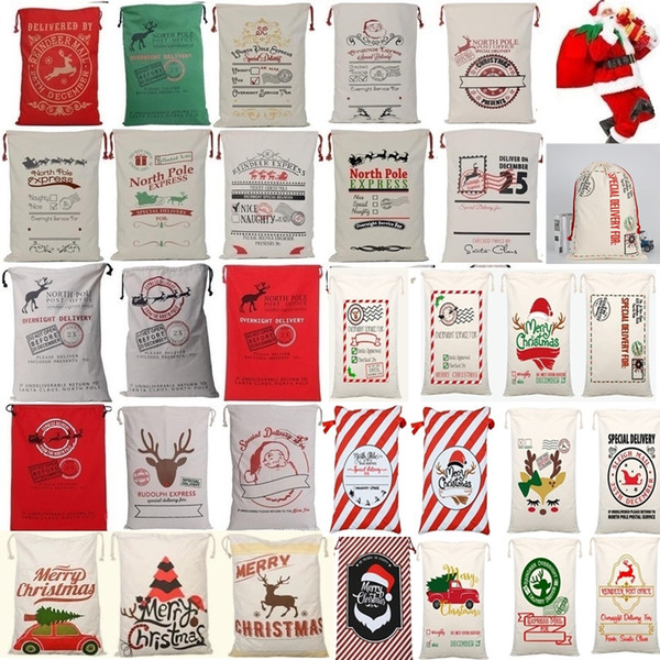 christmas gift bags large organic heavy canvas bag santa sack drawstring bag with reindeers santa claus sack bags