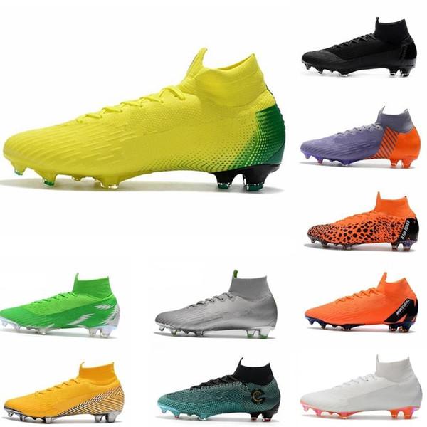 Mens Mercurial Superfly VI 360 Elite Ronaldo FG CR sapatos de futebol chaussures chuteiras altas chuteiras de futebol no tornozelo