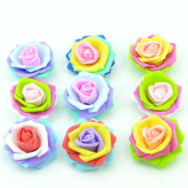 100pcs 7CM Artificial Foam Simulation Rose Flowers Head Wedding Home Christmas Decoration Gift Party Supplies Wreath Accessories