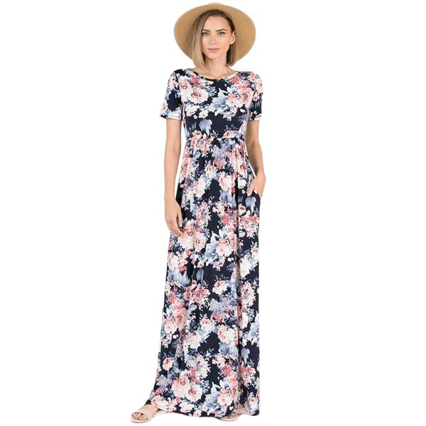 Coral Floral Pattern Short Sleeve Summer Maxi Dress Printed Crew Neck High Waist With Pocket Back Cutout Cross Strap Cotton-blend Long Dress