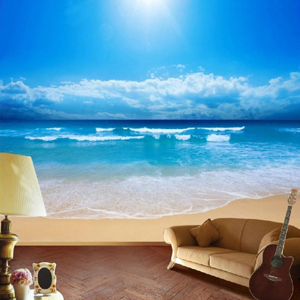 dropship customized size 3d beach seaview ocean sky scenery p mural wallpaper for bedroom home decor non-woven wall paper
