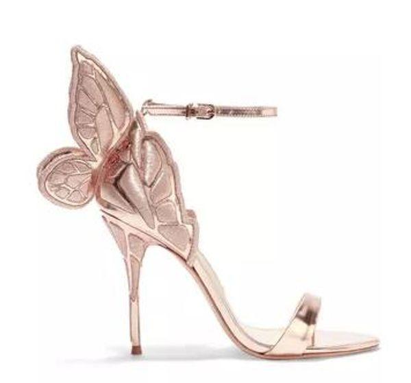 talloni di trasporto delle signore di cuoio, sandali di cuoio ricamate d'oro, farfalla solido tacchi assetto, formato: 34-42, colo champagne