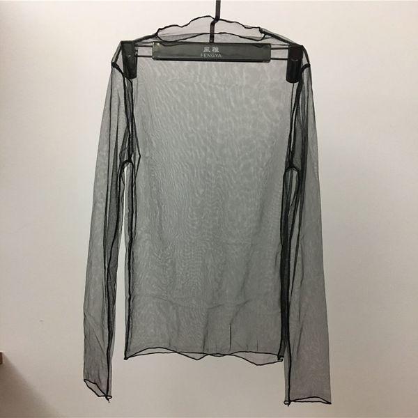 Coreano Verão Mulheres Rendas Transparente Blusas Camisa Das Mulheres tops Senhoras Sexy malha de Manga Longa Camisa Preta Blusa Femme
