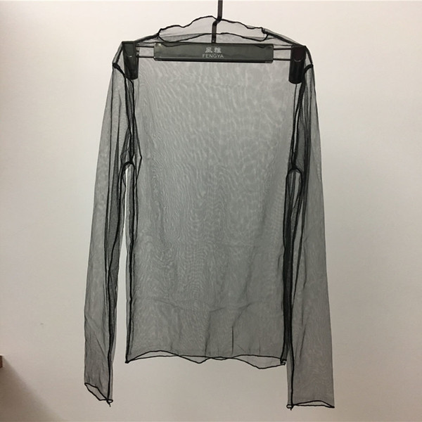 Korean Summer Women Lace Transparent Blouses Shirt Women tops Ladies Sexy mesh Long Sleeve Black Shirt Blouse Femme
