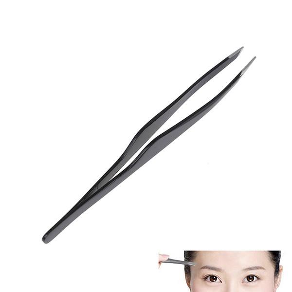 1 unids pinzas de pestañas negras de acero de la pinza de la ceja que despluma el injerto herramienta de maquillaje de pestañas falsas