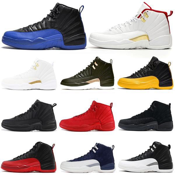 nike retro air jordan aj12 12 12s scarpe da basket uomo Bulls Michigan College Navy UNC NYC Vachetta Tan Wheat Grigio scuro Bordeaux playoff Flu Game uomo Sport sneakers