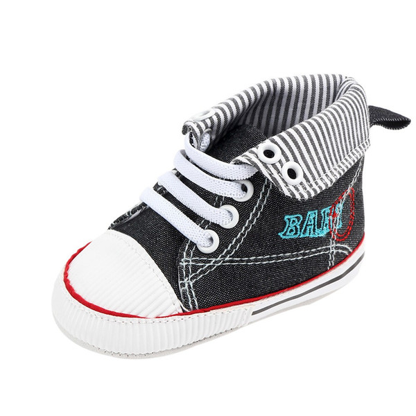 Baby flanged casual shoes boys and girls 2019 striped alphabetic walking shoe baby canvas shoes Zapato #YL1