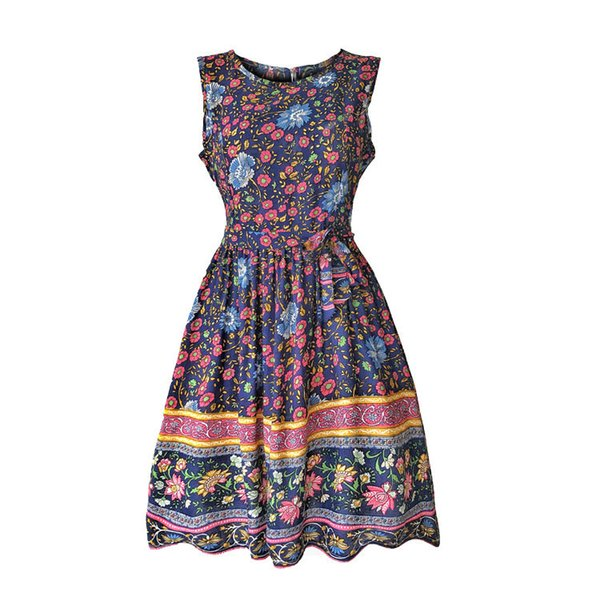 2019 горячий стиль мода досуг печати молния круглый воротник женщины платье