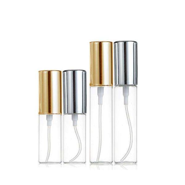 Mini Fine Mist Clear 5ml/10ml 1/6OZ 1/3OZ Atomizer Glass Bottle Spray Refillable Fragrance Perfume Empty Scent Bottle W/ Aluminum Sprayer