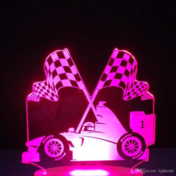 3D Led Işıklı Masa Lambası Dokunmatik F1 Araba Yarışı Usb Çocuk yatak odası Başucu Zafer Bayrağı Night Lights Decor Anahtar değiştirme 7 Renk