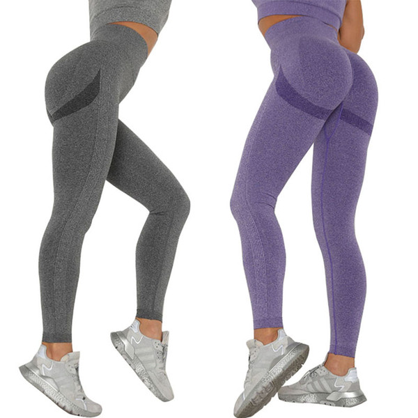 best selling Women Yoga Pants 10 Colors Knit Seamless Sports Running Tights High Waist Gym Leggings Female Sexy Push Up Fitness Pants Trousers 050601