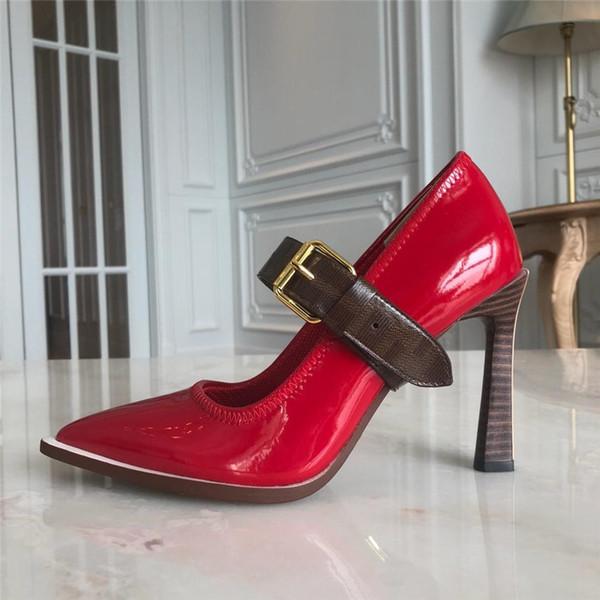 Tasarımcı Yüksek Topuklu Kırmızı Alt Sivri Burun Pompaları ÜST kalite Hakiki deri Stilettos Seksi Kayma Elbise Ayakkabı Parti ayakkabı boyutu 35-42 B100527W