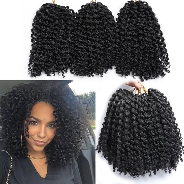 Sıcak! 6 Demetleri Marlybob tığ saç afro kinky kıvırcık tığ örgüler kadınlar için kıvırcık dalga tığ örgü saç sentetik saç uzantıları