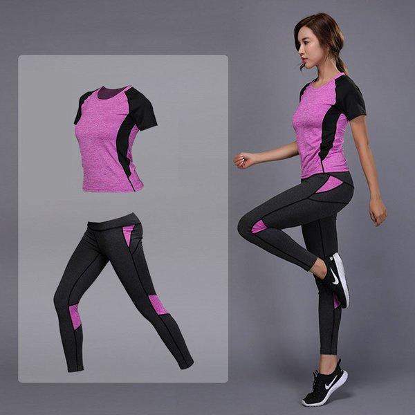 2pcs femmes en cours d'exécution t-shirt gym chemises fitness tennis top + pantalon séchage rapide serré t-shirt d'entraînement leggings costume de sport yoga top