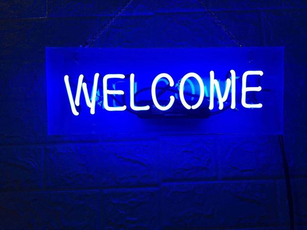 New Star Neon Sign Factory 14X5 Inches Real Glass Neon Sign Light for Beer Bar Pub Garage Room WELCOME TN584.