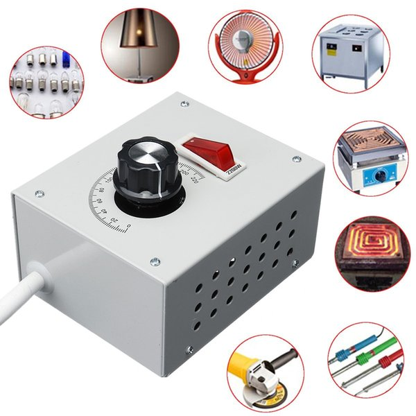 Freeshipping 4000W AC 220V Variable Voltage Controller no Hysteresis/Latency For Light Fan Speed Motor Dimmer Superior Heat Dissipation Whit