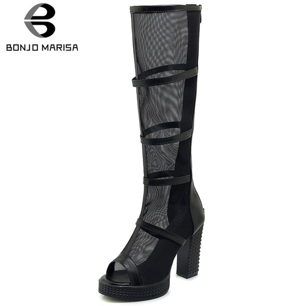BONJOMARISA 2019 Large Size 33-43 Peep Toe Summer Boots Woman Shoes Chunky Heels New Fashion Mid Calf Boots Shoes Woman Footwear