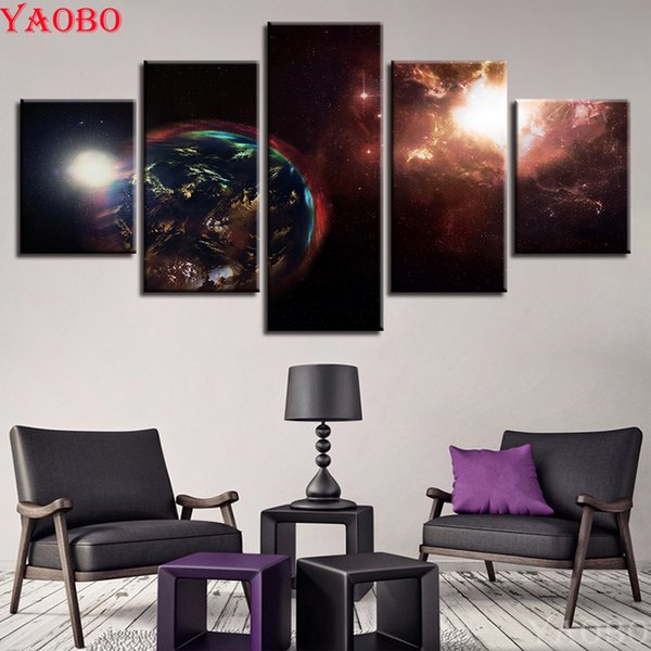 5 pcs diamond embroidery Earth Abstract Pictures Universe Space Planet 5d diy diamond painting full square rhinestone mosaic kit