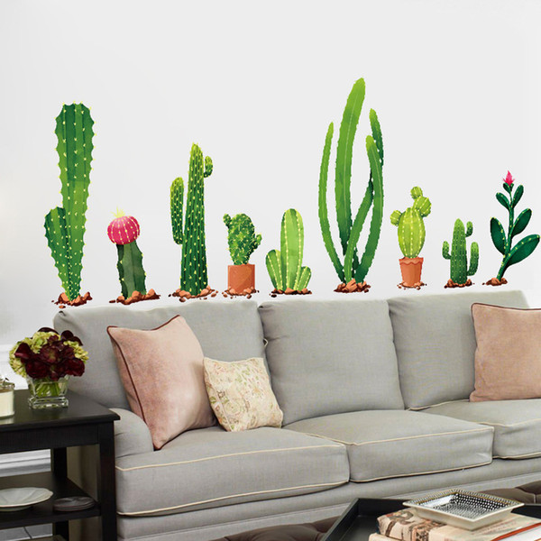 Many Types Of Cactus Green Plants Wall Stickers Living Room Bedroom  Background Home Decoration Mural Decal Wall Decor Wallpaper Wall Transfers  Wall ...