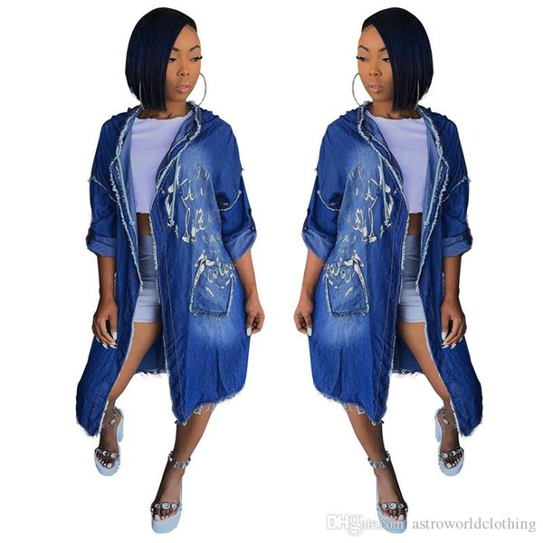 Womens Jeans giacca a maniche lunghe Primavera Autunno casuale Lettera Stampa Burrs Moda Donna Giacca di jeans
