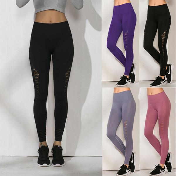 2019 Casual Womens High Waist Leggings Hollow Out Fitness Elastic Waist Long Legging Pants Trouser