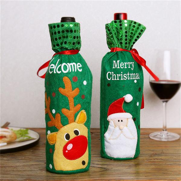 Conjunto de decoración de botellas de vino de Navidad Año nuevo Cena de Navidad Bolsa de botellas de vino Santa Snowman Elk Decoración de la habitación